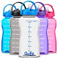 QuiFit BPA Free Motivational Gallon Water Bottle with Straw & Time Marker (Clear Blue)