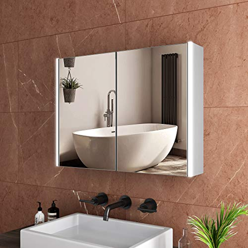 Safeni LED Spiegelschrank 80x60x15cm Badezimmer Spiegelschrank mit Beleuchtung Lichtspiegelschrank+Bluetooth+Sensor Schalter+Innen- und Außenspiegel(Silbergrau)