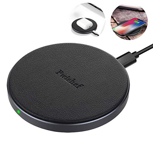 Pwishef Leather Wireless Charger, Qi-Certified, 10W Aluminum Alloy Wireless Charging Pad, Compatible with iPhone 11/11 Pro/11 Pro Max/Xs MAX/XR/Xs/X/8, Airpods 2/Pro, Galaxy, Pixel and More