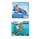 Aqua LEISURE Set of 2 Campania Inflatable Convertible 2 in 1 Pool Float Lounger Recliners with Storage Caddies and Cupholders, 1 Teal & 1 Floral