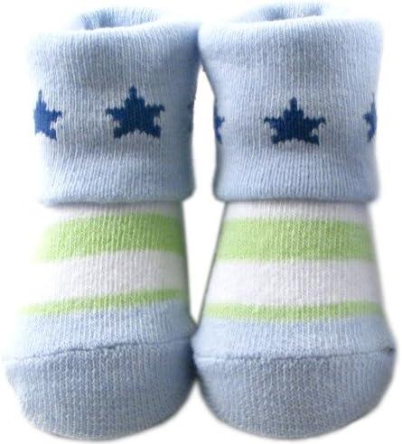 Luvable Friends Baby Boys' Computer Socks, Blue-Green-Stripe, 0-9 Months