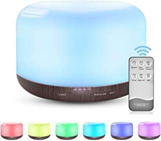 500ml Aroma Diffusers, Ultrasonic Humidifier Cool Mist Humidifier Air Purifier with Timer and Waterless Auto-Off, 7 LED Li...