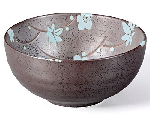 Aricola® Matcha Schale/Matcha Teeschale 250ml anthrazit/blau, Blütendesign, gesprenkelt