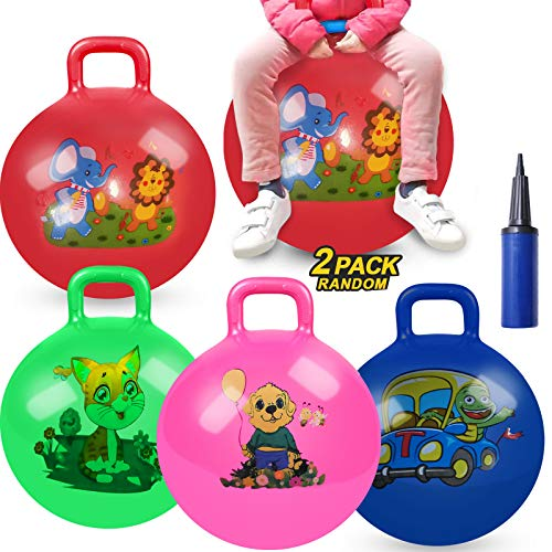 2 Pack Jump Hopper Bouncy Hopping Ball 18 inch with Handle Party Favors for Kids 3-6 Years - School Team Family Ride & Jumping