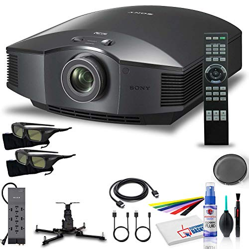 Sony VPLHW55ES 1080p 3D SXRD Home Theater/Gaming Projector with Mount + Power Strip + HDMI Cable + Cleaning Set + Wire Ties and More - Bundle