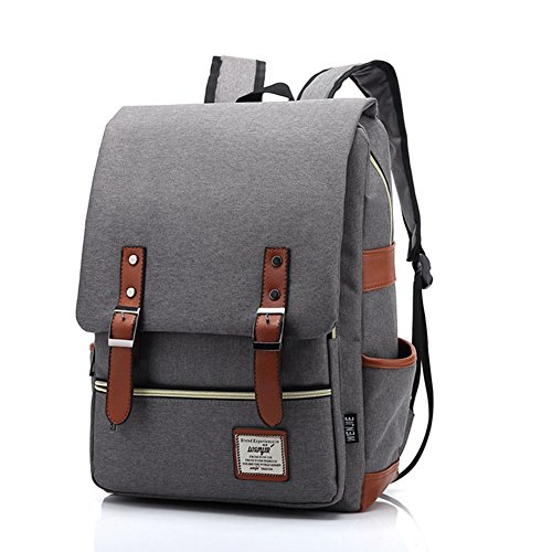 TININNA Unisex Vintage Canvas Backpack Satchel Rucksack Daypack Shoulder School Bag Schoolbag for Women Ladies Girls Light Grey