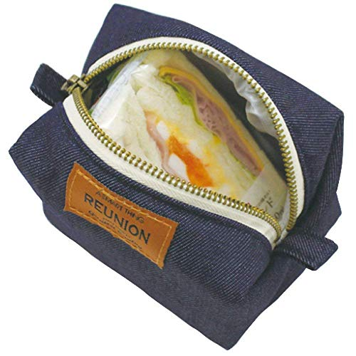 プライムナカムラ REUNIONデニムキャラメル保冷ポーチ (インディゴ) 保冷 保温 ランチポーチ 保冷ポーチ ランチバッグ 袋 お弁当 保冷バッグ レディース コンパクト かわいい 小 ミニ おにぎり入れ (H8.5cm×12cm×8.5cm)