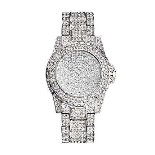 MJARTORIA Damen Armbanduhr Frauen Analoge Quarzuhr mit Edelstahl Armband Glitzer Strass Deko Silber Rosegold
