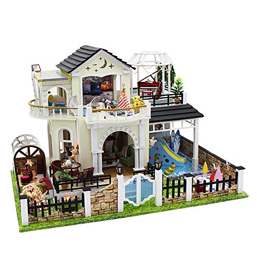 JWIL Toy cabin DIY House Kids Doll House Hand Stitching Toys Assembled Creative Architectural Model Cottage Children Gift Home Decorate with Accessories & Lights as birthday/Christmas