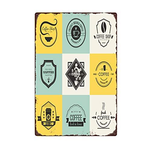 Cartel publicitario de ilustración de café, letrero de metal retro, señalización de estaño, bar, cafetería, club, tienda, tablero de decoración de pared, 20x30cm YD9513G