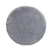 PANA Flauschige Hochflor Badematte Rund in versch. Farben und Größen • Badteppich aus weichen Mikrofasern - rutschfest & waschbar • Duschvorleger Ø 56 cm • Farbe: Grau