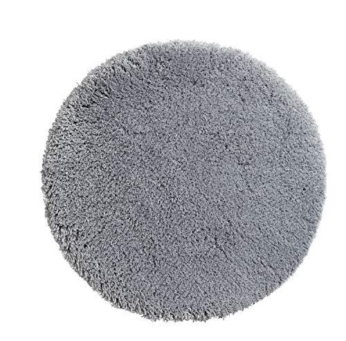 PANA Flauschige Hochflor Badematte Rund in versch. Farben und Größen | Badteppich aus weichen Mikrofasern - rutschfest & waschbar | Duschvorleger Ø 56 cm