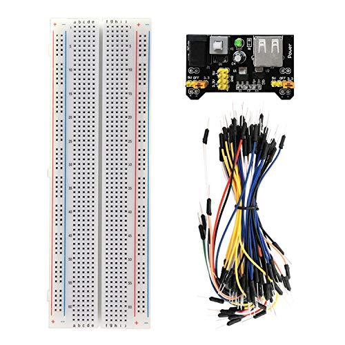 KEYESTUDIO MB 102 Kit Breadboard con 830 Breadboard/Pannello di Connessione, Power Supply Board Adattatore Alimentatore 3,3V 5V 65pcs Ponticelli per Arduino R3, MEGA2560 Starter Kit