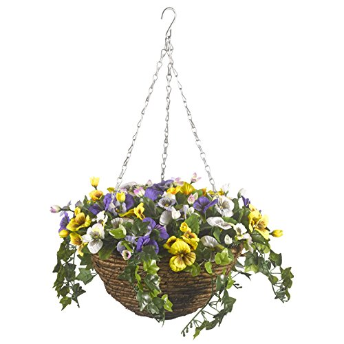 Smart Garden Easy Hanging Basket Artificial Pansy Flower Ready To Hang Flowers
