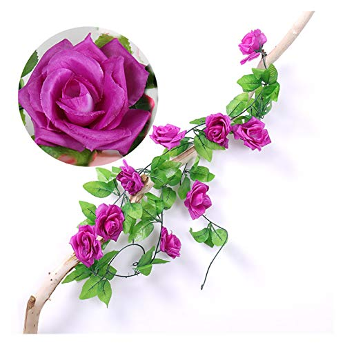 KEHUITONG PSWK 235cm Silk Roses Ivy Flower Vine Artificial Flowers Green Garland For Home Wedding Garden Decoration Hanging Rattan Wall Decor (Color : FUCHSIA, Size : Length is 235cm)