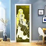 KEXIU 3D Virgo PVC fotografía adhesivo vinilo puerta pegatina cocina baño decoración mural 77x200cm