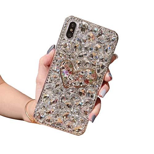 Ostop Coque Diamant pour iPhone Se 2020,iPhone 8/7 Housse Glitter Étoile pour Femme Fille Ado,Étui Joli Amour Coeur Forme Paillette,Housse Brillante Cristal Strass Bling PC Dur Cas,Blanc