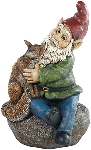 Royal Gardineer Gartenzwerg Olli mit Fuchs, handbemalt