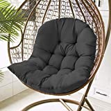Hanging Basket Hanging Egg Chair Cushions,Indoor/Outdoor Swing Chair Cushion,Soft Thicken Comfy Hanging Egg Hammock Chair Seat Pads Back Cushion Pillow,Basket Chair Cushion for Patio Garden (A/Black)
