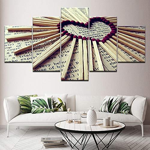 SMXSSJT 5 Stück Leinwand Gemälde Liebestreffer Hd Wall Papers Art Canvas Print Modern Poster Modular Art Painting for Living Room Decor.20X35Cm*2/25X45Cm*2/20X55Cm*1(Ohne Rahmen