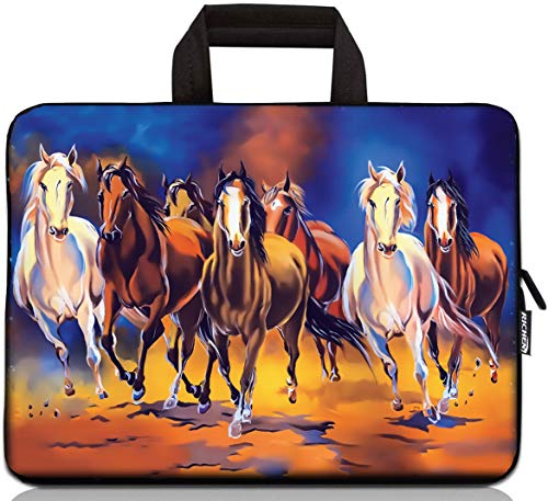 15 inch Neoprene Laptop Carrying Bag Chromebook Case Tablet Travel Cover with Handle Zipper Carrying Sleeve Case Bag Fits 14 15 15.4 inch Netbook / Laptop (14-15.4 inch, Running Horses)