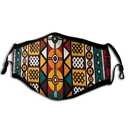 Comfortable Windproof mask,Vertical Borders Inspired By Primitive African Cultures Geometrical Design,Printed Facial decorations for adult