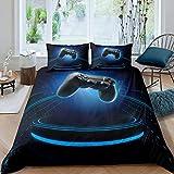 Juego de funda de edredón para niños, juego de videojuegos, juego de cama moderno con botones de acción para jugadores, decoración de dormitorio, colección de regalo (geometría azul)