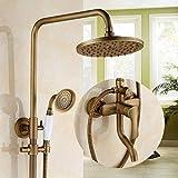Baño Antiguo Latón Ducha Grifo Grifo Sistema de Lluvia Cabeza de Ducha y Ducha de Mano Baño Montado en la Pared Sistema de Grifo de Ducha (Color : UN)