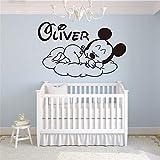 Stickers Muraux Bande Dessinée Créative Nouveau Mickey Bonsoir Personnalisé Enfants Nom Bébé Pour La Chambre Des Enfants Décor À La Maison