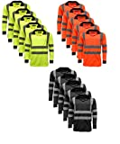 5 Pack Polo Shirts Hi Vis High Viz Visibility Long Sleeve Safety Men's Work Shirt