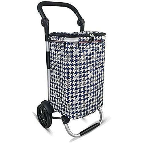 ZBYY Carros de la compra, carro de compras ligero plegable de gran capacidad comestibles coche aleación de aluminio remolque azul 2 rodamientos ruedas mover