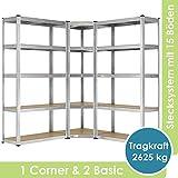 [page_title]-Juskys 3er Metall Regalsystem Basic | 1 Eckregal & 2 Lagerregale | 15 Böden aus MDF Holz | 2625 kg | Schwerlastregal Lagerregal Kellerregal