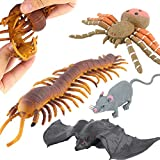 ValeforToy Halloween Toys,Joke Tricks 9 Inch Rubber Spider Bat Mouse Centipede Toy Set,Food Grade Material TPR Super Stretchy, Halloween Prop Realistic Creepy Scary Squishy Party Favor Gag Prank Toy
