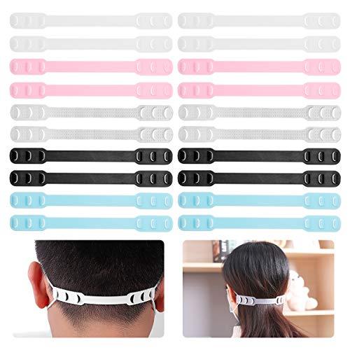 ZITFRI 20 Stück Maskenhaken verstellbare Maske Extender Anti-Rutsch Ohrhaken Verlängerungsriemen für Maske, 5 Farben Maskenhalter gegen Ohrenschmerzen, mit 6 Einstellschnallen, waschbar