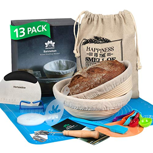 """HOMEADOW Bread Baking Kit- 13 Pcs- A Great Gift: Banneton Bread Proofing Basket (Round 9"""" + Oval 10""""), 2 Liners, Lame, Bench and Dough Scrapers, Stencils, Silicone Baking Mat, Bread Bag, Pastry Basting Brush, Cleaning Brush, Measuring Spoons 