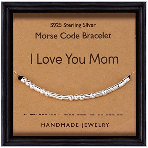 Suyi Regalos para Madre Pulsera Código Morse Pulsera De Cuentas De Plata De Ley 925 Regalo Hecho A Mano para El Cumpleaños del Día De La Madre I Love You Mom