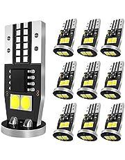 SEALIGHT T10 LED ホワイト ポジションランプ ナンバー灯 ルームランプ 高輝度 キャンセラー内蔵 6連2835LEDチップ搭載 12V 2W 無極性 10個入 1年保証
