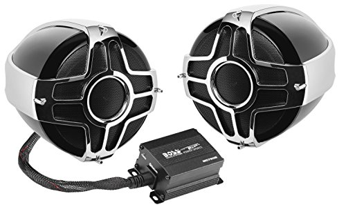 BOSS Audio Systems MC750B Motorcycle / ATV Speaker System - Bluetooth, Weatherproof, 4 Inch Speakers, 2 Channel Amplifier, Volume Control, Ideal With ATV's, Motorcycle's and 12 all Volt Vehicles