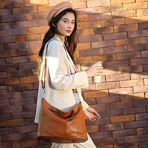 Kattee Women's Soft Genuine Leather 3-Way Satchel Tote Handbag Brown