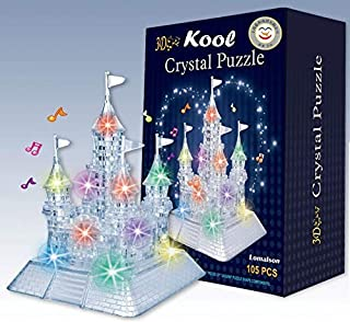 Kool 3D Light-Up Musical Crystal Castle Jigsaw Puzzle 105 pieces, Beautiful LED Lights