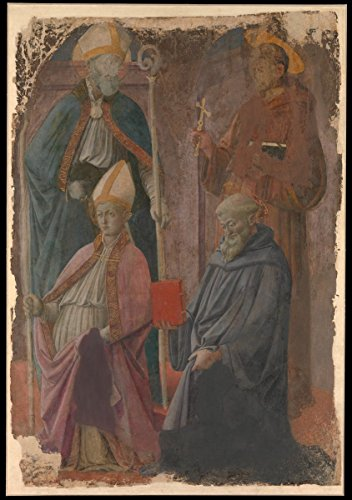 Historic Pictoric Art Print : Fra Filippo Lippi - Saints Augustine and Francis, a Bishop Saint, and Saint Benedict : Vintage Wall Décor : 08in x 12in