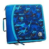 Case-It T641P Zipper Binder, 3-Inch Capacity, with 5-Tab Expanding File, Zip Mesh Pocket, Shoulder Strap, Splotches Blue