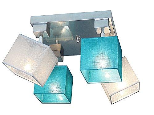 Deckenlampe - Wero Design Vigo-022 A (Mix Türkis/Weiß) - Deckenleuchte, Leuchte, Lampenschirme, 4-flammig, Metall, Stoff, Chrom