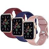 Yonk - Juego de 3 pulseras compatibles con Apple Watch 38 mm, 40 mm, 42 mm, 44 mm, para mujer y hombre, pulseras de silicona flexible compatible con iWatch Series 6 5 4 3 2 1 & Se