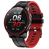 Smart Watch Fitness Tracker Watch with Heart Rate Blood Pressure Monitor Sleep Tracking Activity Tracker with 1.3' Touch Screen IP68 Waterproof Pedometer Smartwatch for Women and Men (Red+Black)