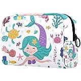 Bolso de maquillaje de viaje lindo unicornio de dibujos animados bolsa de maquillaje organizador para mujeres y niñas