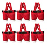 DAVID ROCCO 6 pcs Christmas Gifts Bag, Santa Pants Xmas Candy Treats Bags Holders with Handle Portable Gifts Basket Wrap for Holiday Home Decoration and Ornament Festive Present to Kids Friend