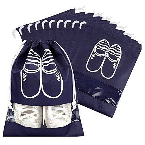 MojiDecor Schuhbeutel mit Zugband/Transparente Fenster, Wasserabweisende Staubabweisende Schuhtaschen - Ideal für Reisen oder Zuhause-Aufbewahrung, 10er Set (Set 2)