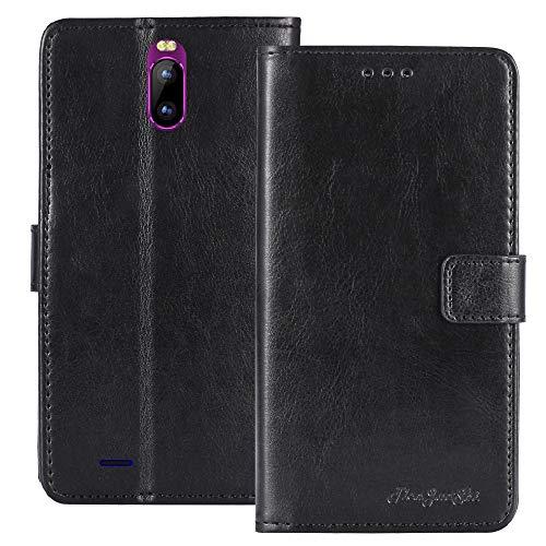 TienJueShi Negro Retro Premium Función de Soporte Funda Caso Teléfono Case para TEENO DUODUOGO J6+ Carcasa Proteccion Cuero Cover Etui