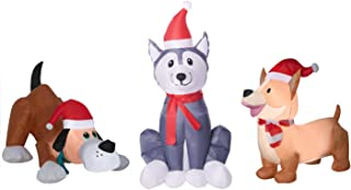 Puppy Dog Christmas Inflatables. 3 Dog Decorations with LED Lights. Each Inflatable Pup Decorated with Santa Hats and Holiday Scarfs Perfect for Christmas Blow Up Yard Decorations